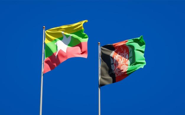 Mooie nationale vlaggen van afghanistan en myanmar