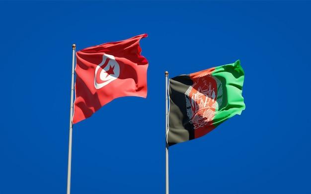 Mooie nationale vlaggen van afghanistan en tunesië
