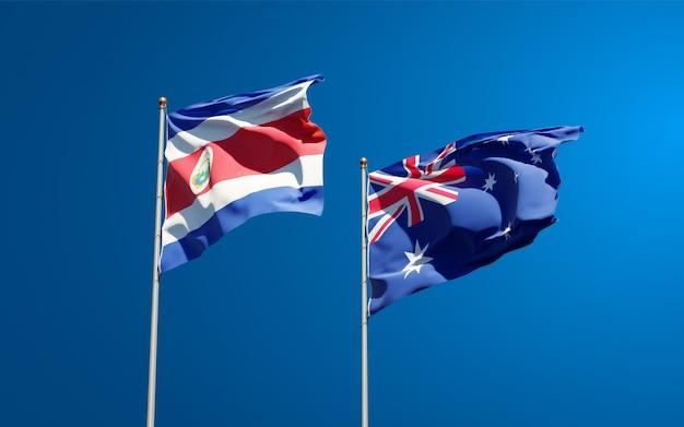 Mooie nationale vlaggen van australië en costa rica samen