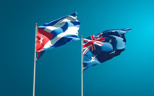 Mooie nationale vlaggen van australië en cuba samen