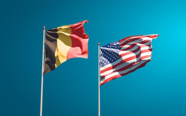 Mooie nationale vlaggen van de vs en belgië samen
