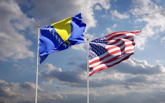 Mooie nationale vlaggen van de vs en bosnië en herzegovina samen