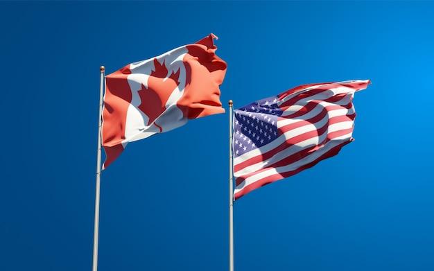 Mooie nationale vlaggen van de vs en canada samen