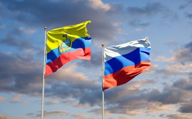 Mooie nationale vlaggen van ecuador en rusland samen op blauwe hemel. 3d-illustraties