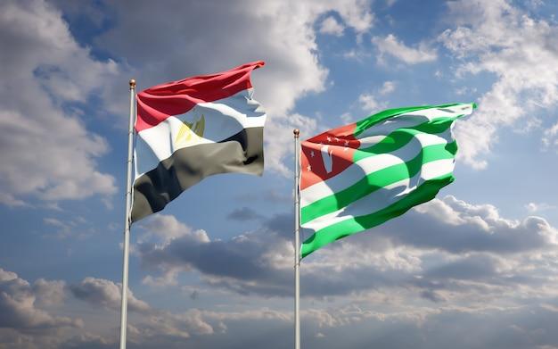 Mooie nationale vlaggen van egypte en abchazië samen