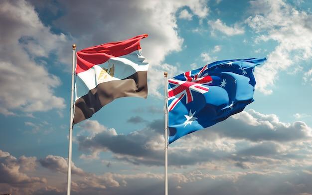 Mooie nationale vlaggen van egypte en australië samen