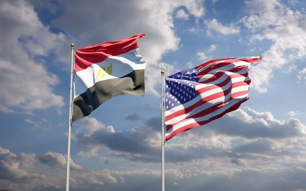 Mooie nationale vlaggen van egypte en de vs samen