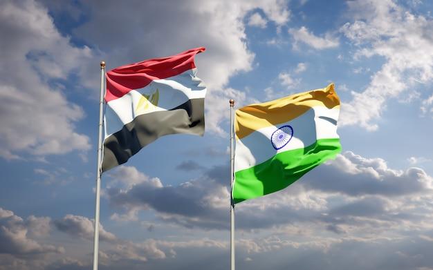 Mooie nationale vlaggen van egypte en india samen