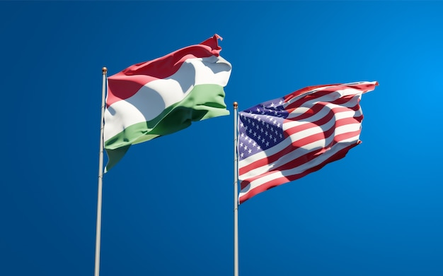 Mooie nationale vlaggen van hongarije en de vs samen