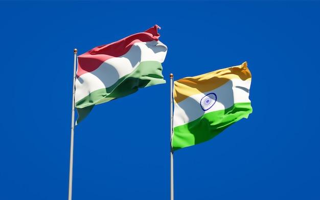 Mooie nationale vlaggen van hongarije en india samen
