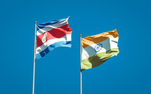 Mooie nationale vlaggen van india en costa rica samen