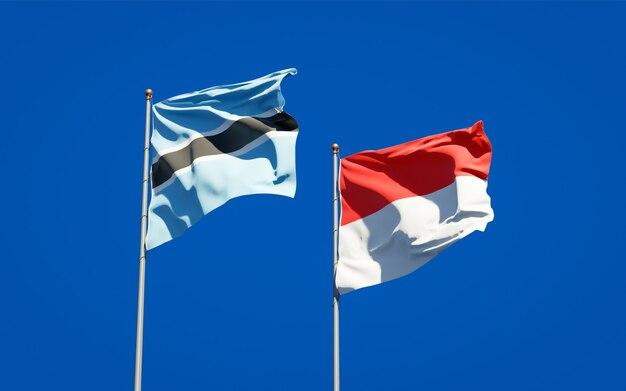Mooie nationale vlaggen van indonesië en botswana samen op blauwe hemel