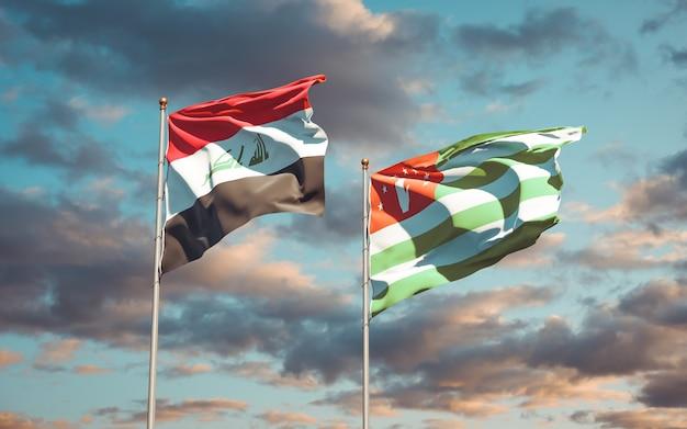 Mooie nationale vlaggen van irak en abchazië samen