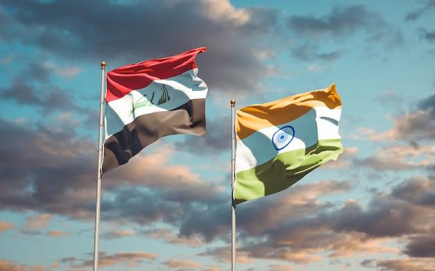 Mooie nationale vlaggen van irak en india samen