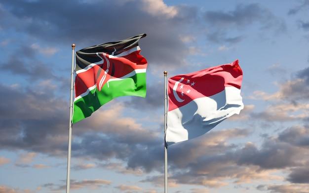 Mooie nationale vlaggen van kenia en singapore samen
