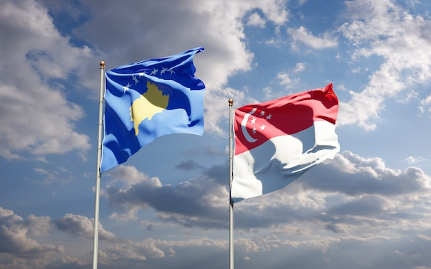 Mooie nationale vlaggen van kosovo en singapore samen