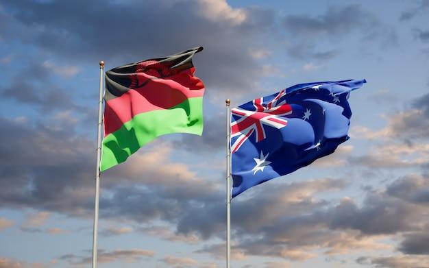 Mooie nationale vlaggen van malawi en australië samen
