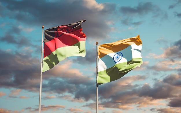 Mooie nationale vlaggen van malawi en india samen