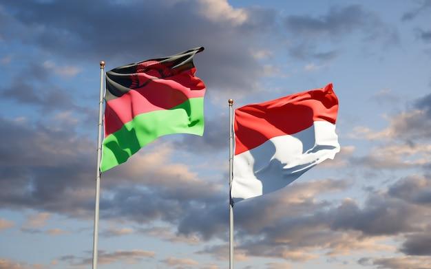 Mooie nationale vlaggen van malawi en indonesië samen op blauwe hemel