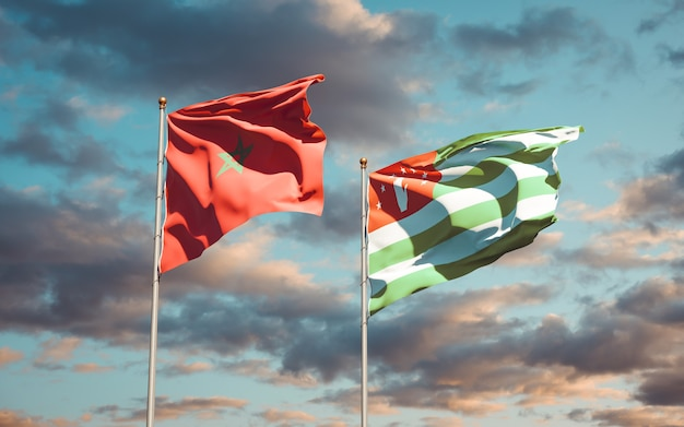Mooie nationale vlaggen van marokko en abchazië samen