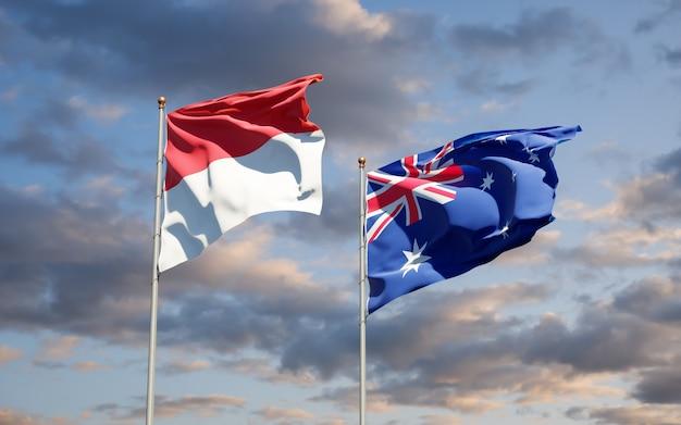 Mooie nationale vlaggen van monaco en australië samen