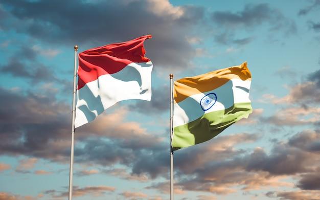 Mooie nationale vlaggen van monaco en india samen