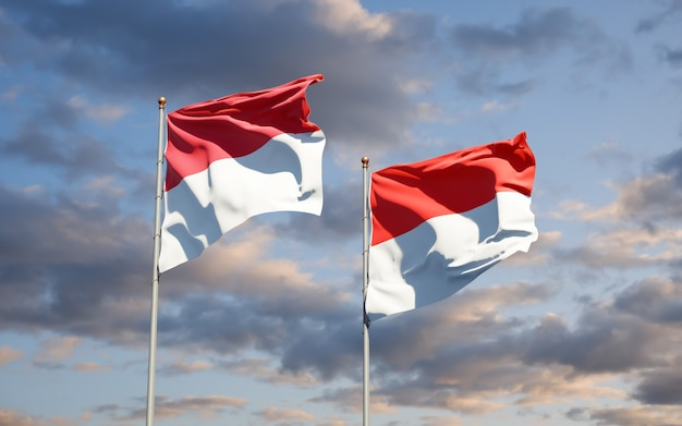 Mooie nationale vlaggen van monaco en indonesië samen op blauwe hemel