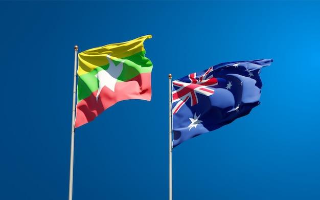 Mooie nationale vlaggen van myanmar en australië samen
