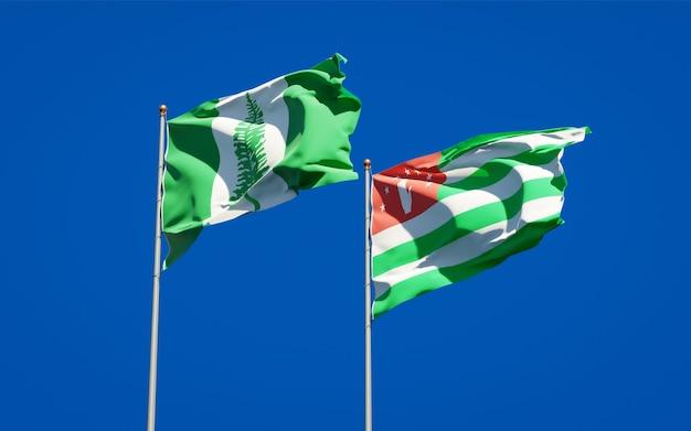 Mooie nationale vlaggen van norfolk island en abchazië samen op blauwe hemel. 3d-illustraties