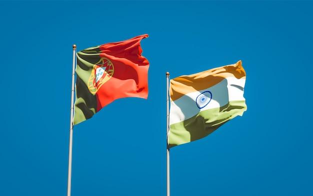 Mooie nationale vlaggen van portugal en india samen