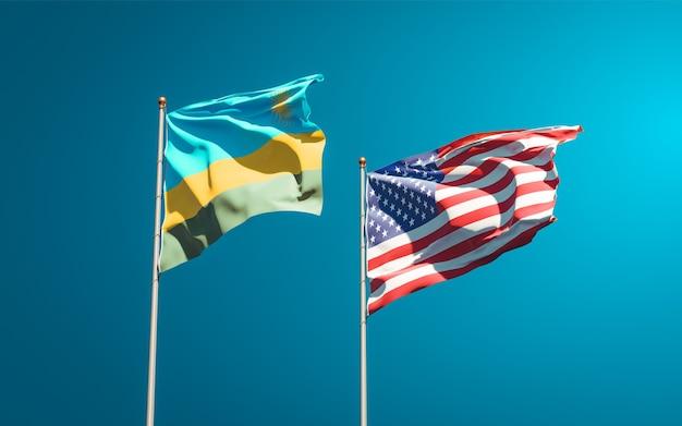 Mooie nationale vlaggen van rwanda en de vs samen