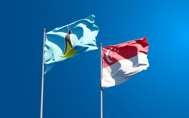 Mooie nationale vlaggen van saint lucia en singapore samen