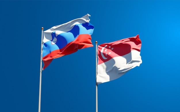 Mooie nationale vlaggen van slovenië en singapore samen
