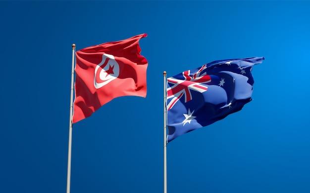 Mooie nationale vlaggen van tunesië en australië samen