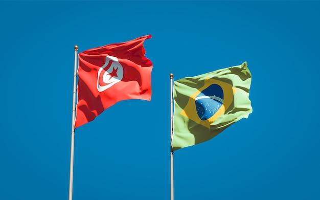 Mooie nationale vlaggen van tunesië en brazilië samen op blauwe hemel