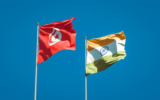 Mooie nationale vlaggen van tunesië en india samen