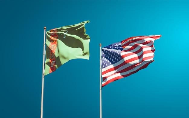 Mooie nationale vlaggen van turkmenistan en de vs samen