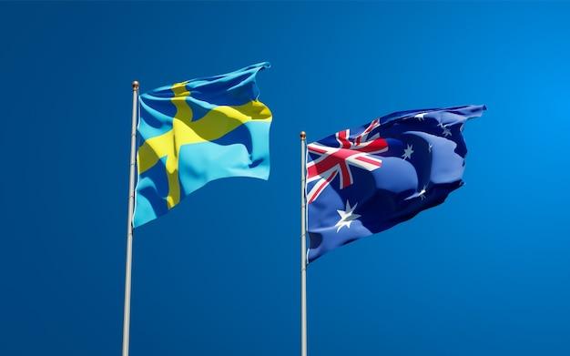 Mooie nationale vlaggen van zweden en australië samen