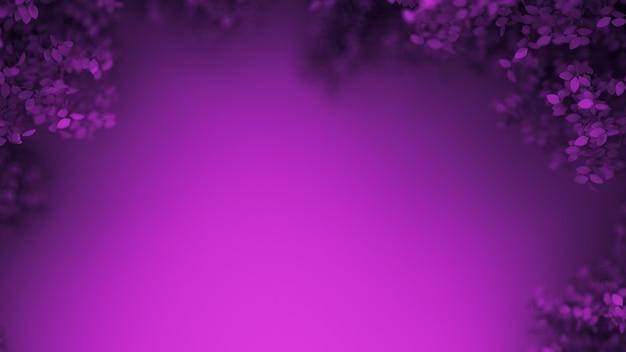 Mooie paarse achtergrond met bladeren. 3d-weergave.