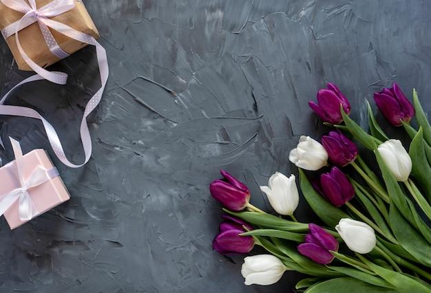 Mooie paarse en witte tulpen en geschenkdoos op een grijze achtergrond.