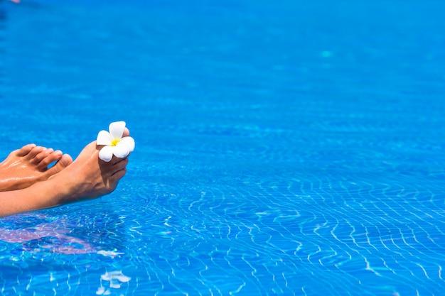 Mooie pedicured vrouwelijke voeten en tropische bloem in de pool