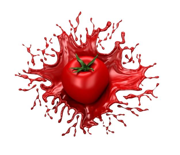 Mooie rode achtergrond met geïsoleerde tomaat en scheutje sap, tomatenpuree, ketchup, saus. 3d-afbeelding, 3d-rendering.