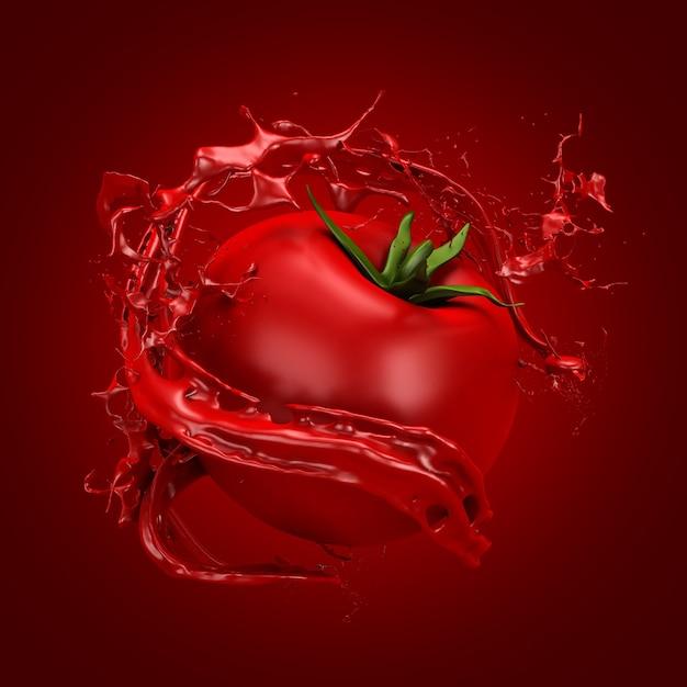 Mooie rode achtergrond met tomaat en scheutje sap, tomatenpuree, ketchup, saus. 3d-afbeelding, 3d-rendering.