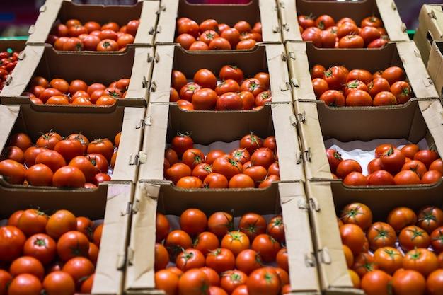 Mooie rode tomaten in kartonnen dozen, te koop op een marktplank.