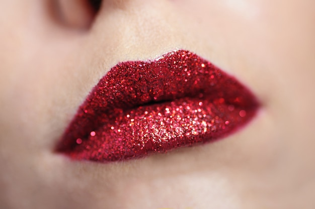 Mooie rode vrouw lippen make-up