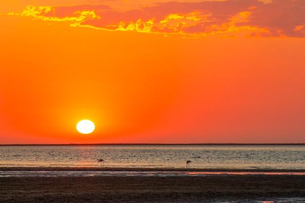 Mooie rode zonsondergang over de atlantische oceaan