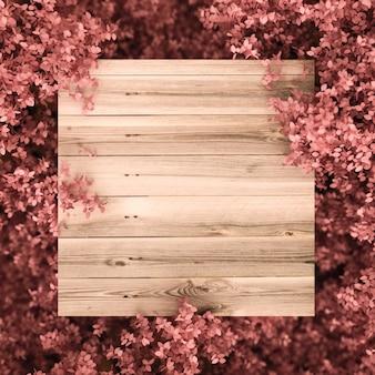 Mooie roze achtergrond met bladeren en houtstructuur. 3d-weergave.