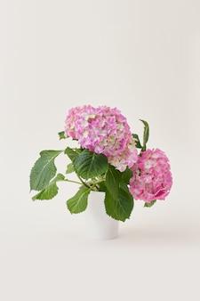 Mooie roze en witte bloemen met groene bladeren in witte vaas op witte achtergrond met kopie ruimte