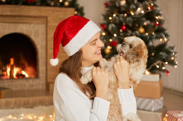 Mooie schattige pekinees met zijn eigenaar over kerstboom en feestelijk decor. portret van geliefde huisdier thuis met gelukkig lachende dame in kerstman hoed, poseren in gezellig ingerichte woonkamer.