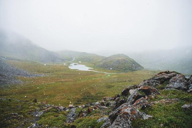 Mooie sneeuwval in de bergen. sfeervol groen alpenlandschap met grote sneeuwvlokken. meertje, waterstromen en rotsachtige heuvel met scherpe steile stenen tijdens sneeuwval. sneeuwvlokken in het hoogland